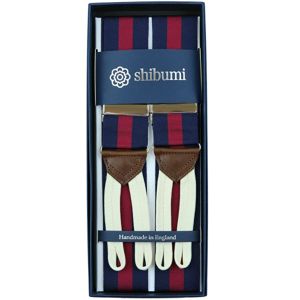 Barathea Braces - Navy / Burgundy