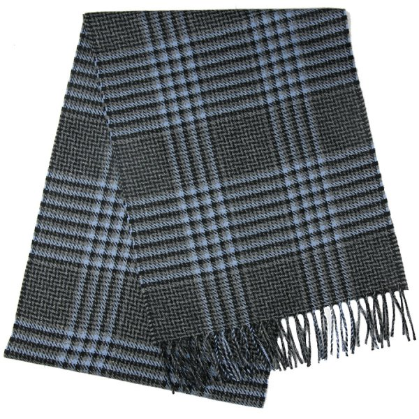 Checked Cashmere Scarf - Grey / Blue