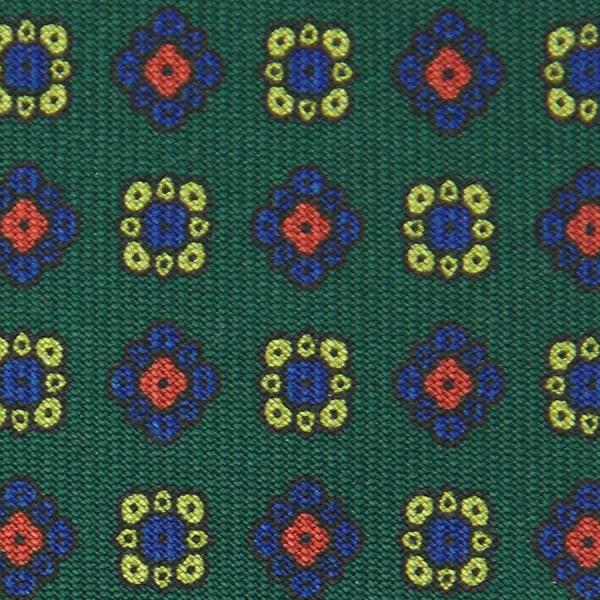 Floral Printed Bespoke Silk Tie - Green