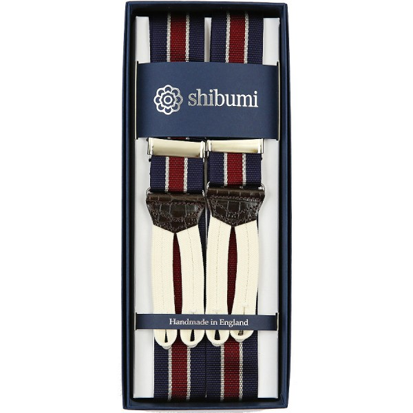 Barathea Braces - Navy / White / Burgundy