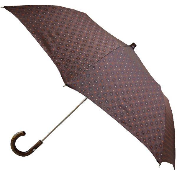 Shibumi Sen Travel Umbrella - Brown Floral Pattern - Hickory