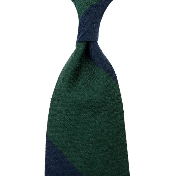 Block Stripe Shantung Silk Tie - Navy / Forest - Hand-Rolled