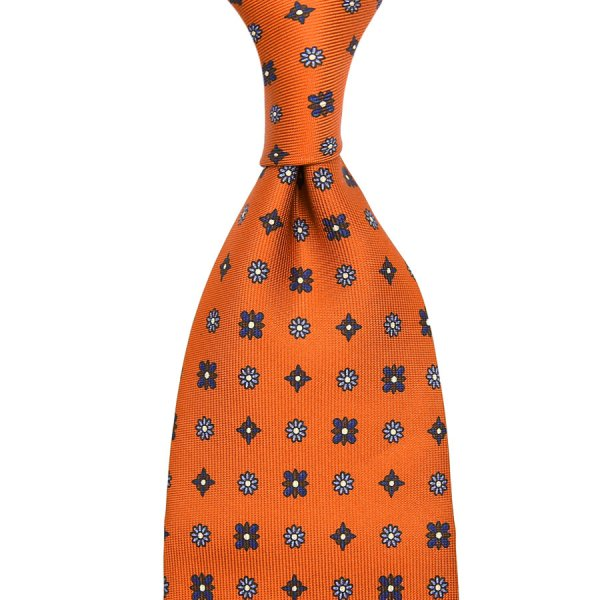 Floral Printed Silk Tie - Rust - Hand-Rolled