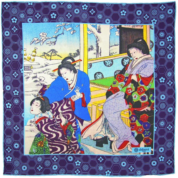 Ukiyo-e Silk Pocket Square - Yuki No Hi - Handrolled - 40 x 40cm