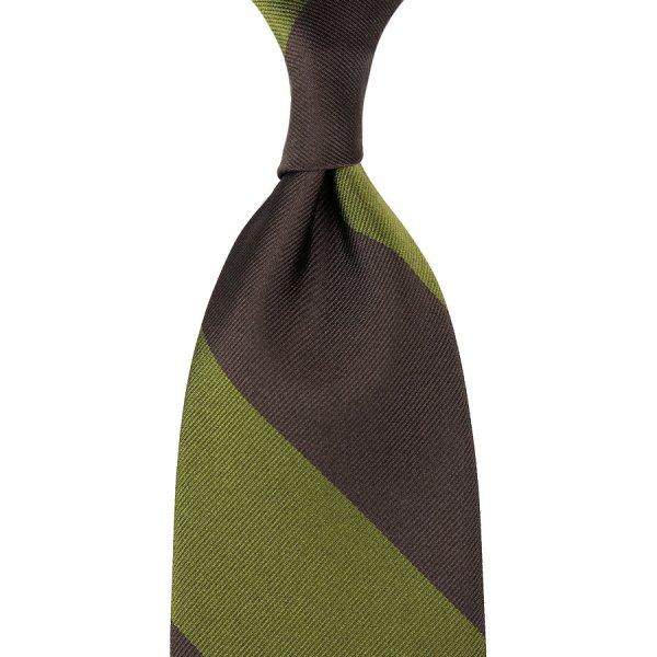 Block Stripe Repp Silk Tie - Olive / Brown - Hand-Rolled