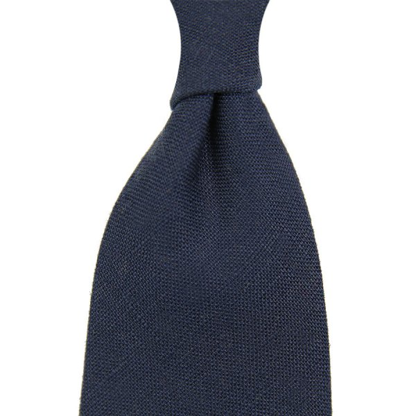 Japanese Ramie Tie - Navy - Hand-Rolled