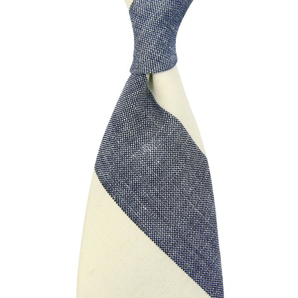 Vintage Fox Brothers Block Stripe Wool Tie - Ivory / Navy
