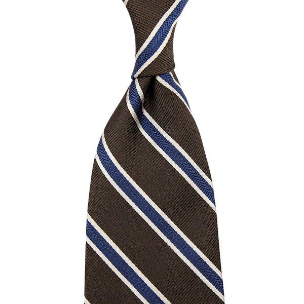 Repp Stripe Silk Tie - Espresso - Hand-Rolled