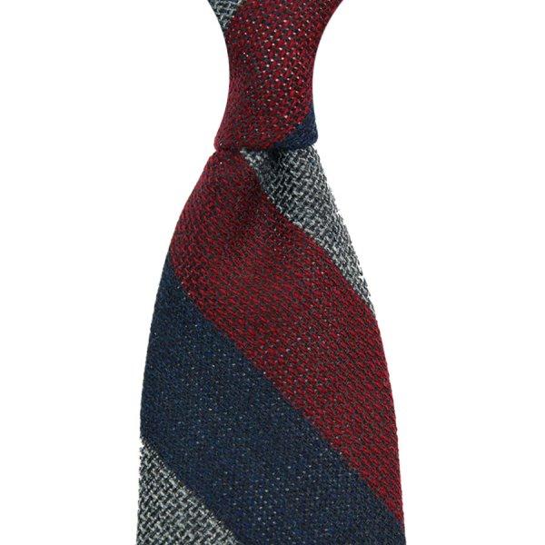 Triple Block Stripe Wool / Silk Grenadine Tie - Navy / Burgundy / Grey