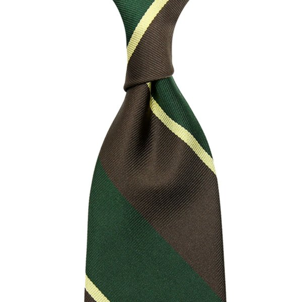 Block Stripe Repp Silk Tie - Forest / Brown / Yellow