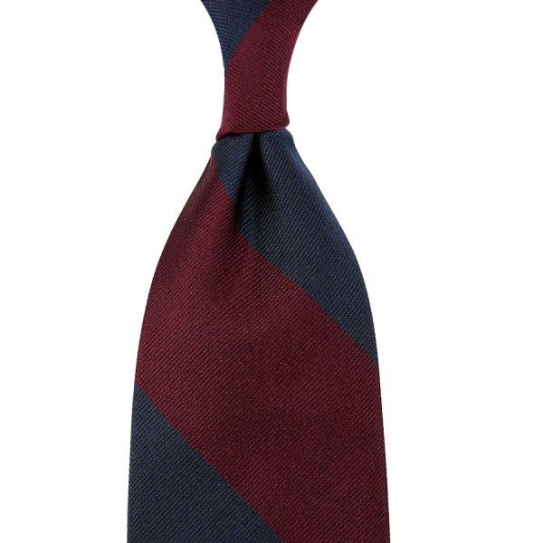 Block Stripe Repp Silk Tie - Navy / Burgundy - Hand-Rolled