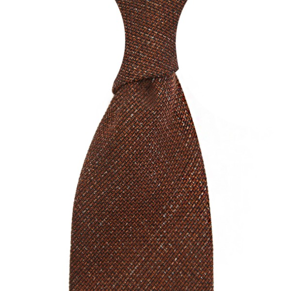 Plain Printed Grenadine Tie - Wool / Cashmere / Silk - Chocolate