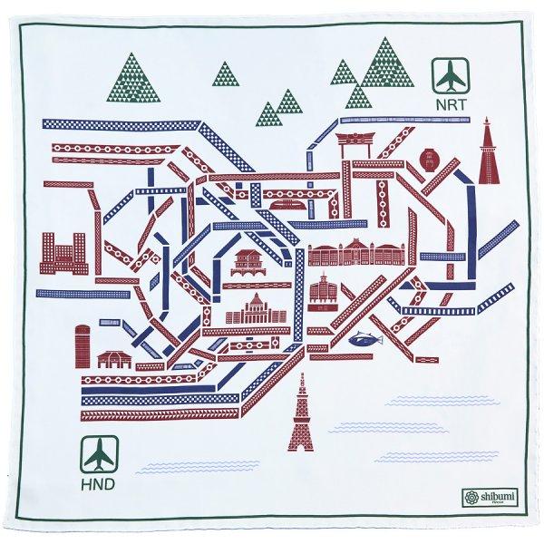 Tokyo Map Silk Pocket Square - White - 40x40cm