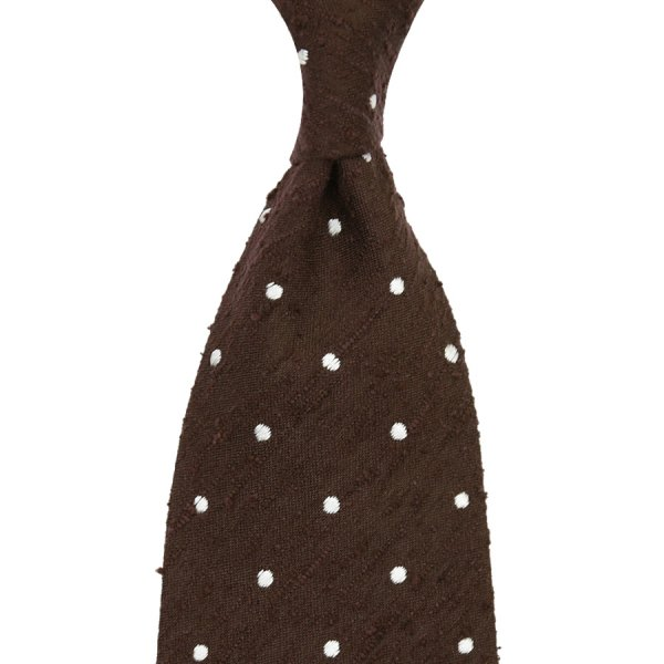 Shantung Silk Tie With Dots - Brown - Handrolled