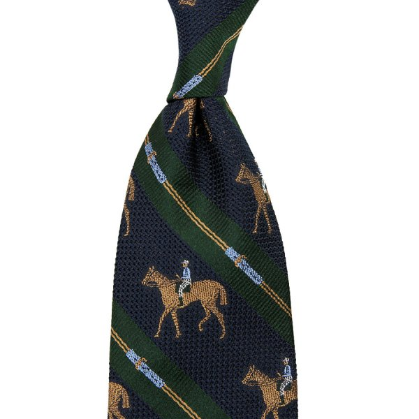 Crest Grenadine Silk Tie - Navy / Forest - Hand-Rolled