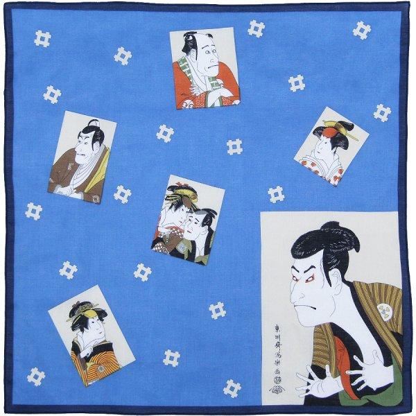 Ukiyo-e Cotton Handkerchief - Blue
