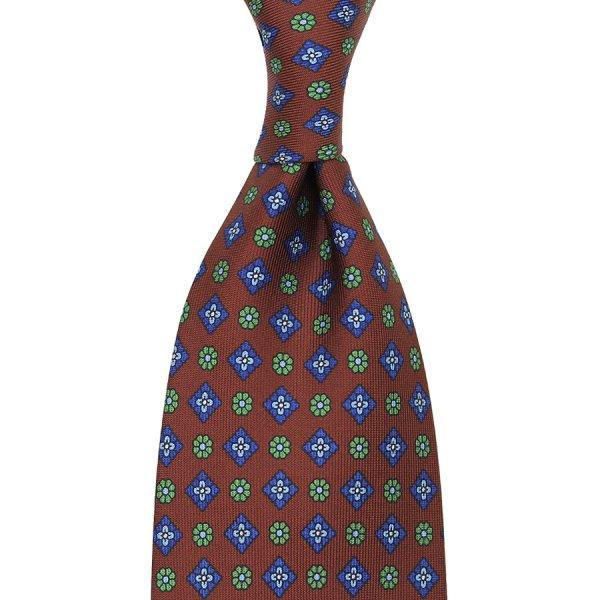 Floral Printed Silk Tie - Brown - Handrolled
