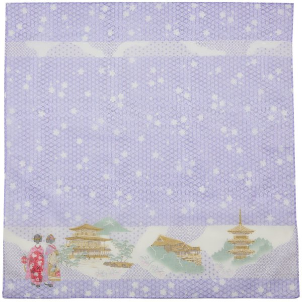 Japanese Motif Cotton Handkerchief - Purple