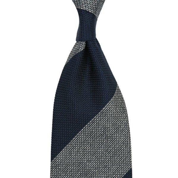 Block Stripe Grenadine / Garza Piccola Silk Tie - Navy / Grey Mottled