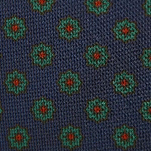 Ancient Madder Silk Bespoke Tie - Navy VI