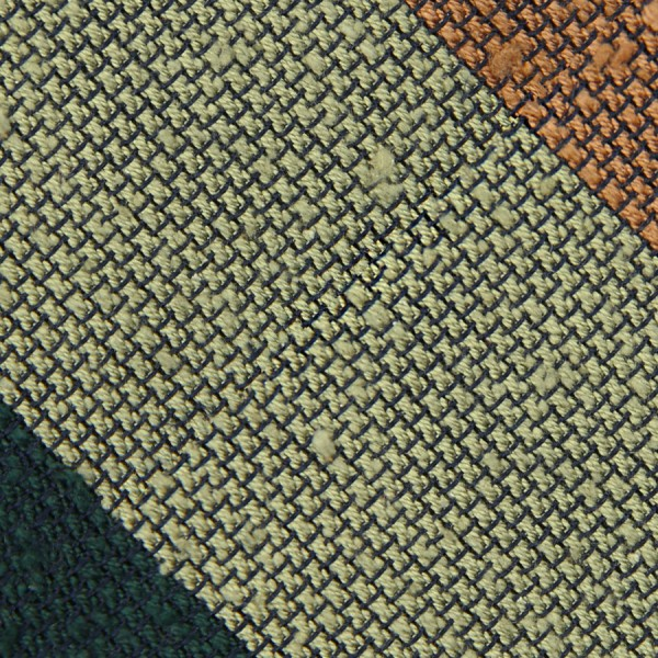 Triple Block Stripe Shantung Grenadine Bespoke Tie - Forest / Green / Occher