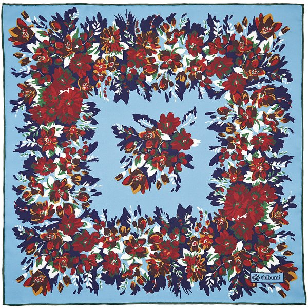 Floral Printed Silk Pocket Square - Sky Blue - 40 x 40cm