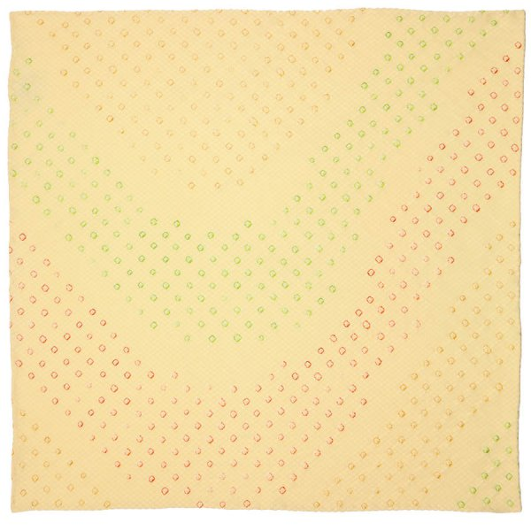 Vintage Kimono Silk Pocket Square - Pale Yellow