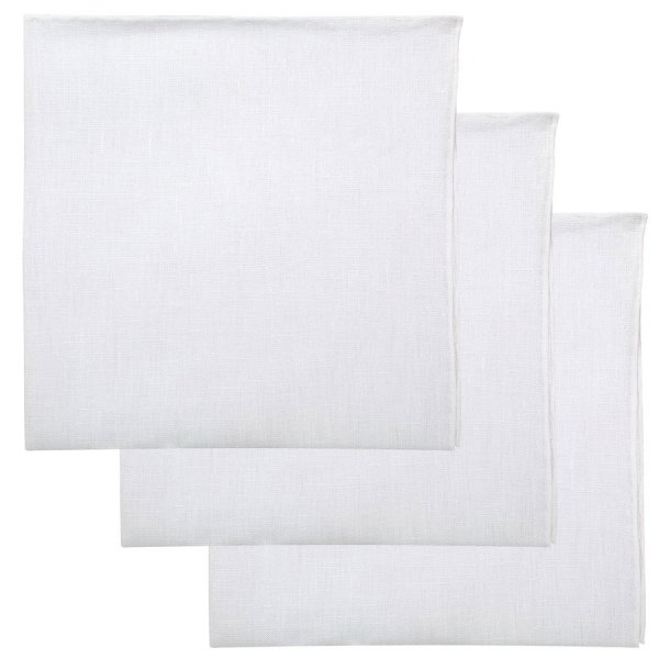 3x White Irish Linen Pocket Square - Hand-Rolled