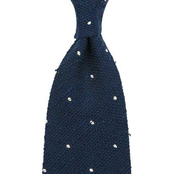 Shantung Silk Grenadine Tie With Dots - Navy - Handrolled
