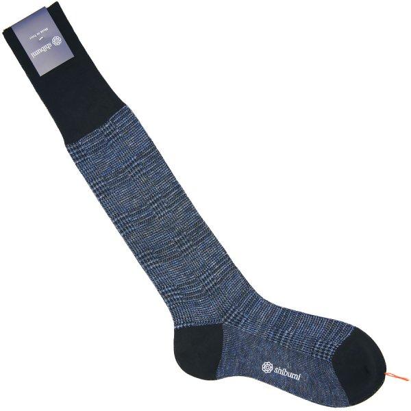 Knee Socks - Glencheck - Navy - Cotton / Linen
