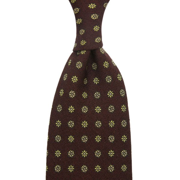 Floral Printed Wool Challis Tie - Chocolate - Hand-Rolled