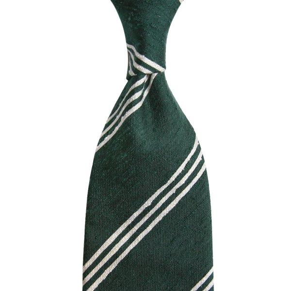Triple Bar Shantung Silk Tie - Forest - Hand-Rolled