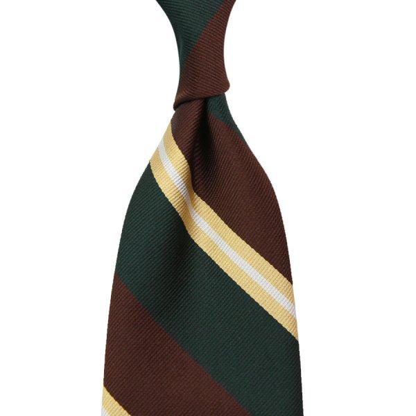 Repp Stripe Silk Tie - Bottle / Chocolate - Hand-Rolled