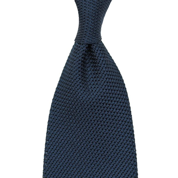 Grenadine / Garza Piccola Tie - Navy - Handrolled