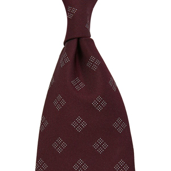 Geometrical Jacquard Tie - Wine - Handrolled