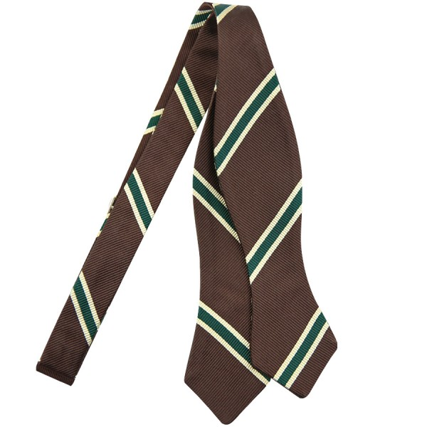 Repp Stripe Silk Bow Tie - Chocolate / Green