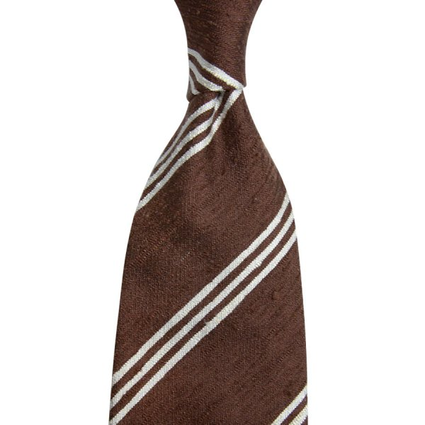 Triple Bar Shantung Silk Tie - Brown - Hand-Rolled