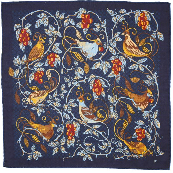 Animal Motif Wool / Silk Neckerchief - Navy - 60x60cm