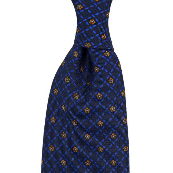 Floral Printed Silk Tie - Navy XI - Handrolled