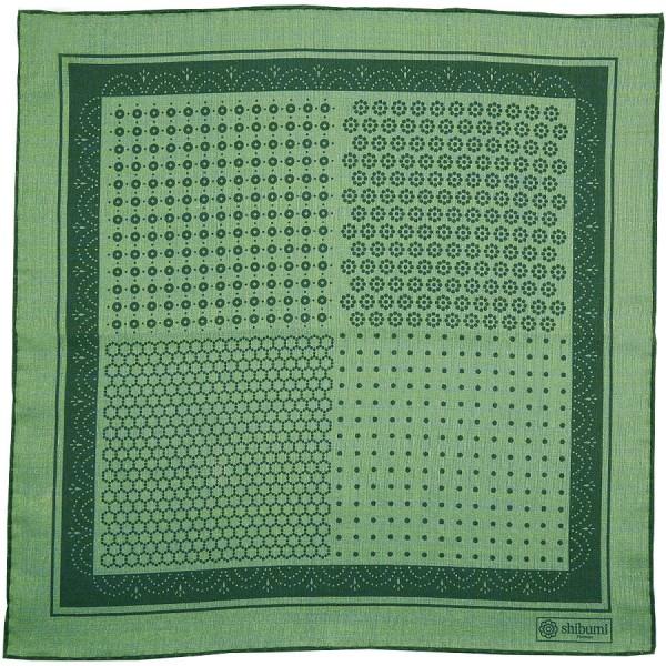 Geometrical Wool / Silk Pocket Square - Green