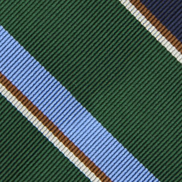 Bespoke Repp Stripe Silk Tie - Forest Green