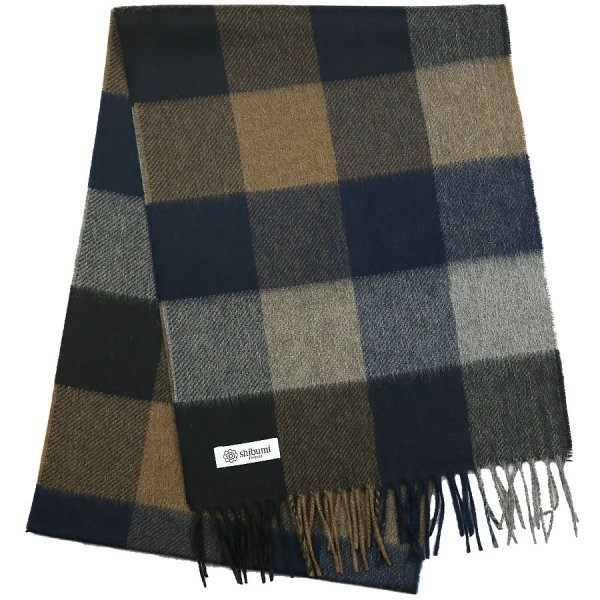 Plaid Cashmere Scarf - Navy / Brown
