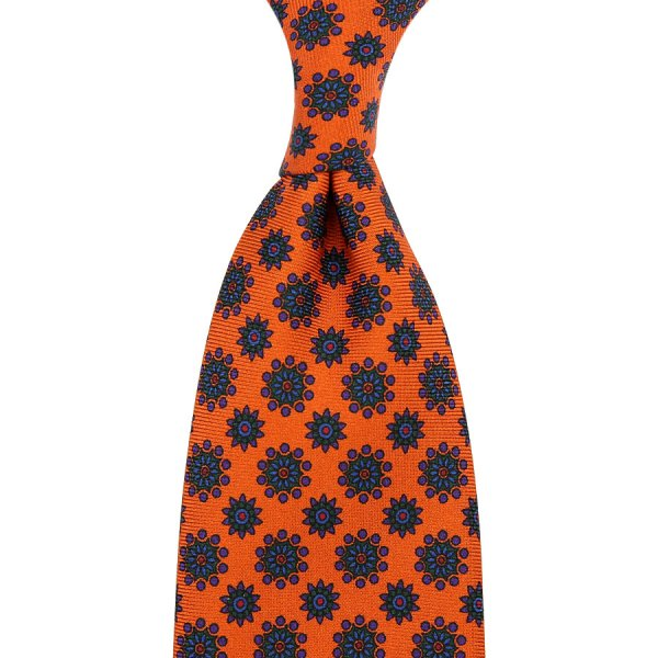 Ancient Madder Silk Tie - Orange I - Hand-Rolled