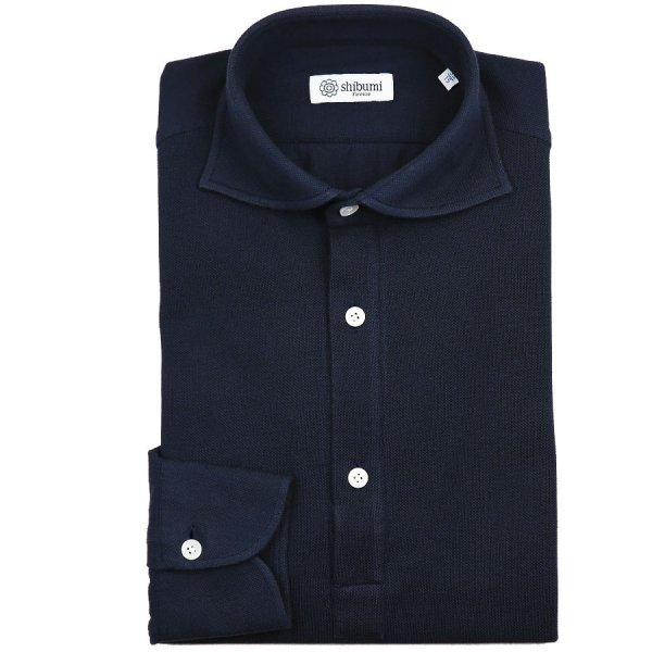 Curved Semi Spread Polo Shirt - Navy - Regular Fit