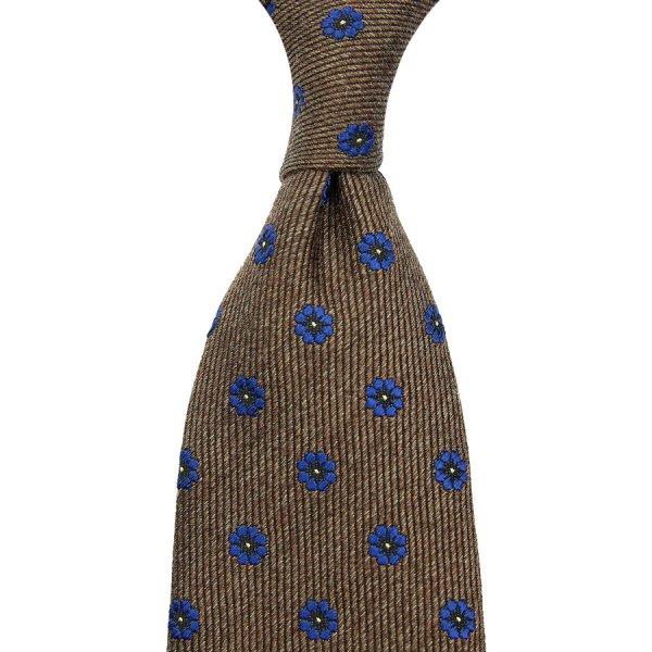Floral Jacquard Wool / Silk Tie - Beige - Hand-Rolled