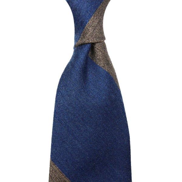 Block Stripe Silk / Cashmere Tie - Navy / Beige - Hand-Rolled
