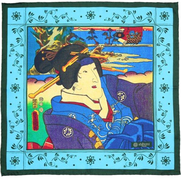 Ukiyo-e Silk Pocket Square - Ayame - 40x40cm