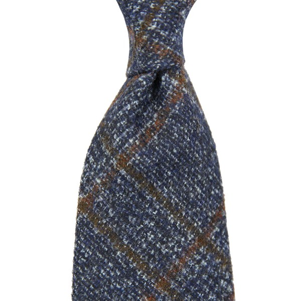 Caccioppoli Wool / Cashmere Glencheck Tie - Navy - Handrolled