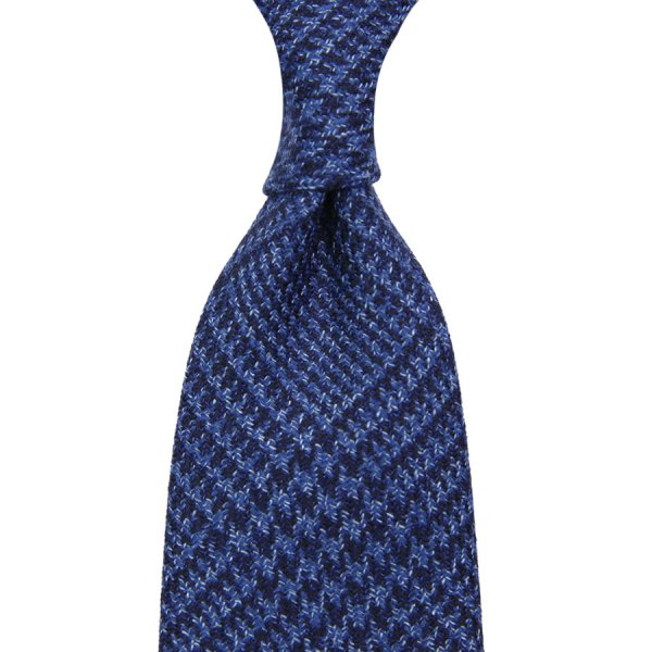 Marling & Evans Wool / Silk Glencheck Tie - Navy - Hand-Rolled