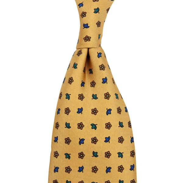 Floral Printed Silk Tie - Honey - Hand-Rolled
